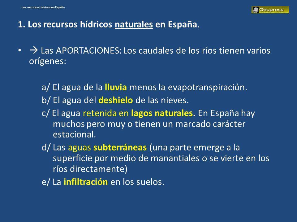 Los recursos hídricos en España 1. Los recursos hídricos naturales en España. Las APORTACIONES: Los caudales de los ríos tienen varios orígenes: a/ El