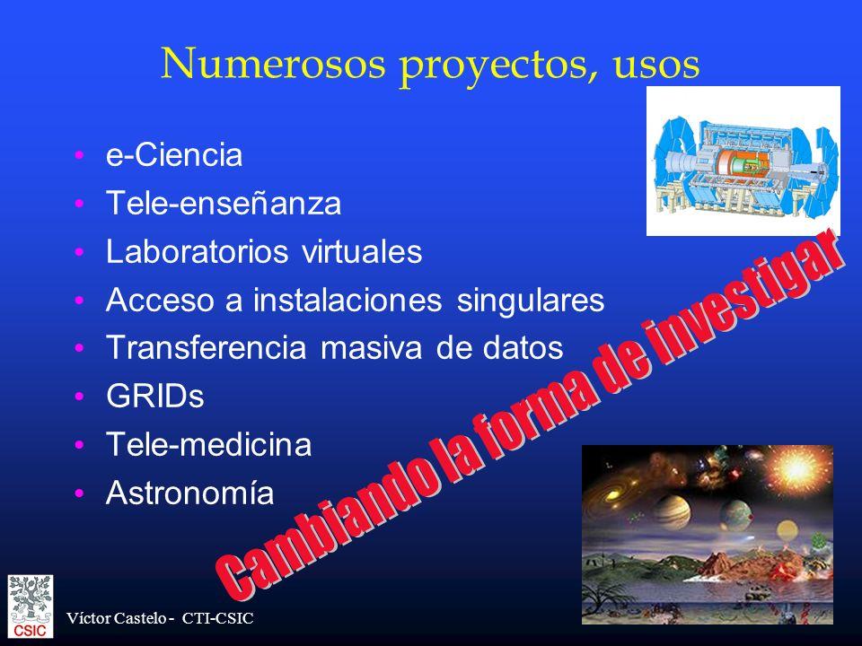 Víctor Castelo - CTI-CSIC Numerosos proyectos, usos e-Ciencia Tele-enseñanza Laboratorios virtuales Acceso a instalaciones singulares Transferencia ma