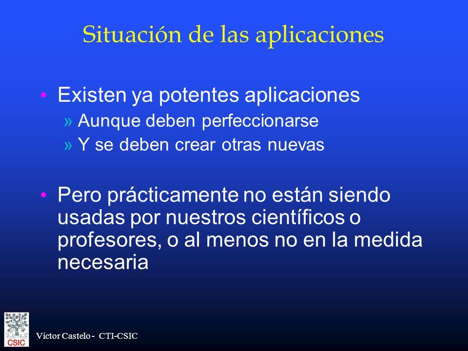 Víctor Castelo - CTI-CSIC Situación de las aplicaciones Existen ya potentes aplicaciones »Aunque deben perfeccionarse »Y se deben crear otras nuevas P
