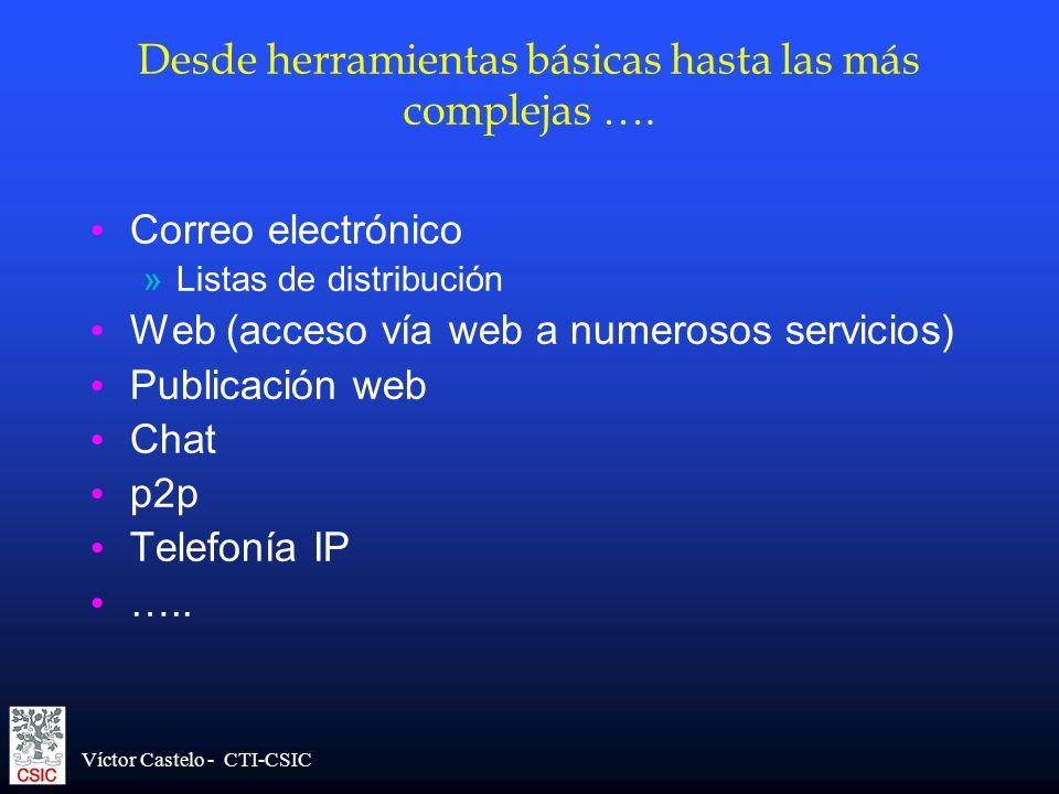 Víctor Castelo - CTI-CSIC Desde herramientas básicas hasta las más complejas …. Correo electrónico »Listas de distribución Web (acceso vía web a numer