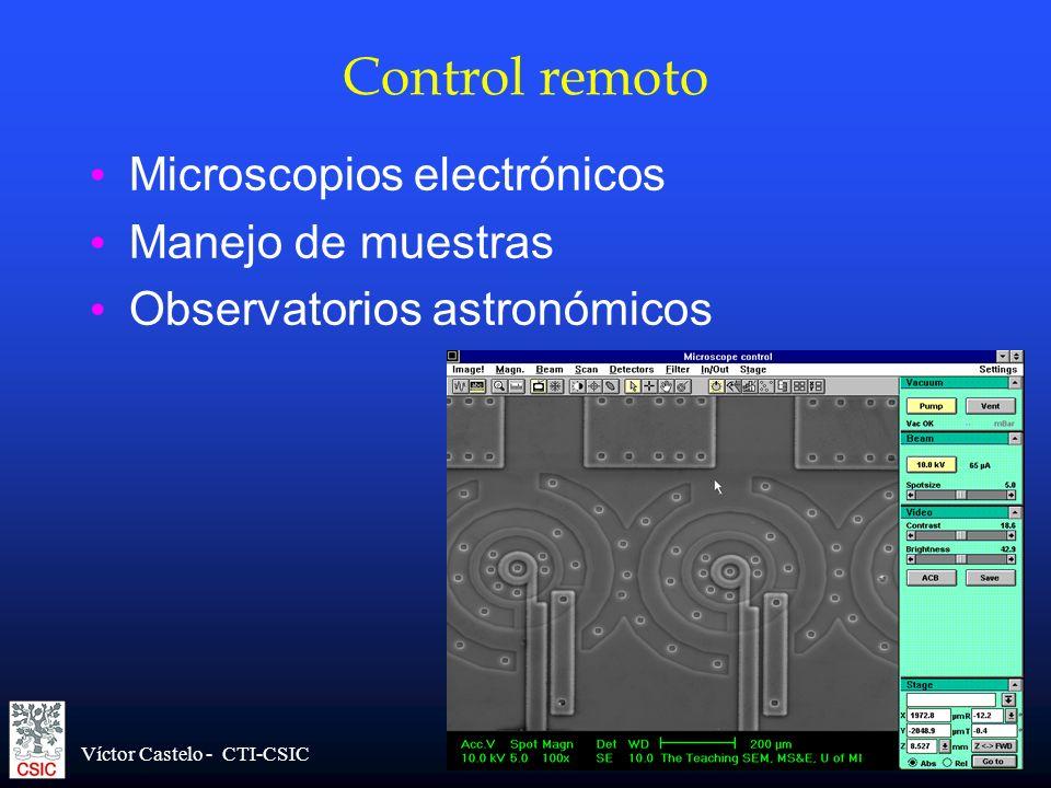 Víctor Castelo - CTI-CSIC Control remoto Microscopios electrónicos Manejo de muestras Observatorios astronómicos