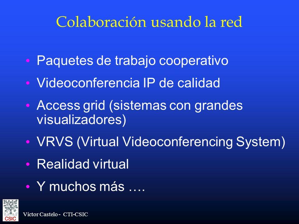 Víctor Castelo - CTI-CSIC Colaboración usando la red Paquetes de trabajo cooperativo Videoconferencia IP de calidad Access grid (sistemas con grandes