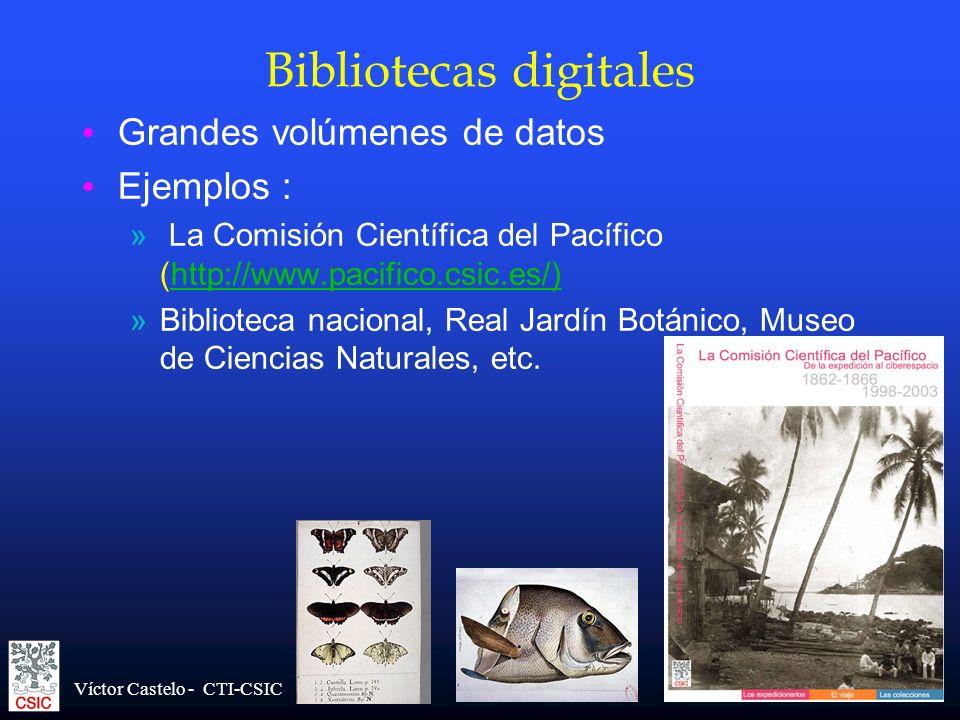 Víctor Castelo - CTI-CSIC Bibliotecas digitales Grandes volúmenes de datos Ejemplos : » La Comisión Científica del Pacífico (http://www.pacifico.csic.