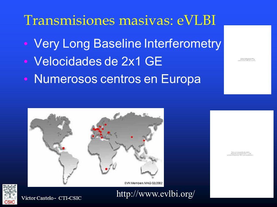 Víctor Castelo - CTI-CSIC Transmisiones masivas: eVLBI Very Long Baseline Interferometry Velocidades de 2x1 GE Numerosos centros en Europa http://www.