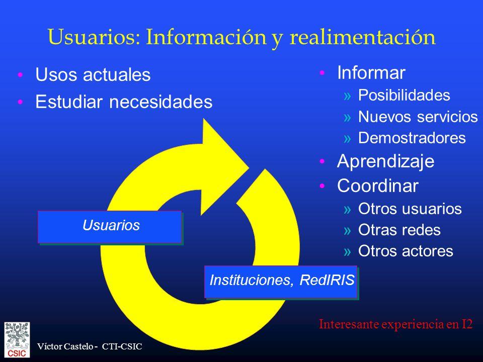 Víctor Castelo - CTI-CSIC Usuarios Usuarios: Información y realimentación Usos actuales Estudiar necesidades Informar »Posibilidades »Nuevos servicios