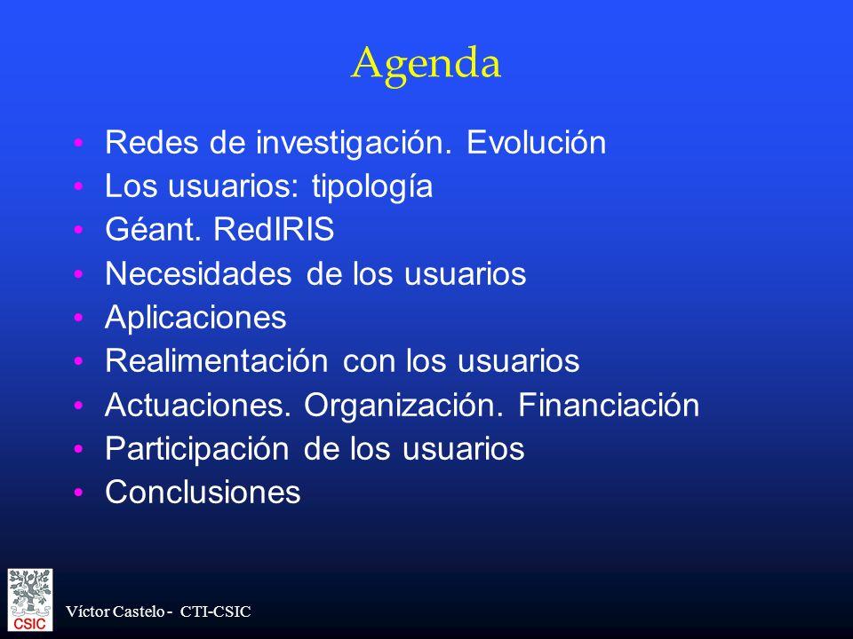 Víctor Castelo - CTI-CSIC Agenda Redes de investigación. Evolución Los usuarios: tipología Géant. RedIRIS Necesidades de los usuarios Aplicaciones Rea