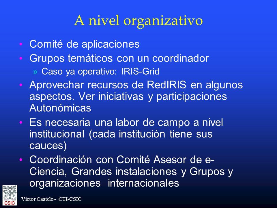 Víctor Castelo - CTI-CSIC A nivel organizativo Comité de aplicaciones Grupos temáticos con un coordinador »Caso ya operativo: IRIS-Grid Aprovechar rec