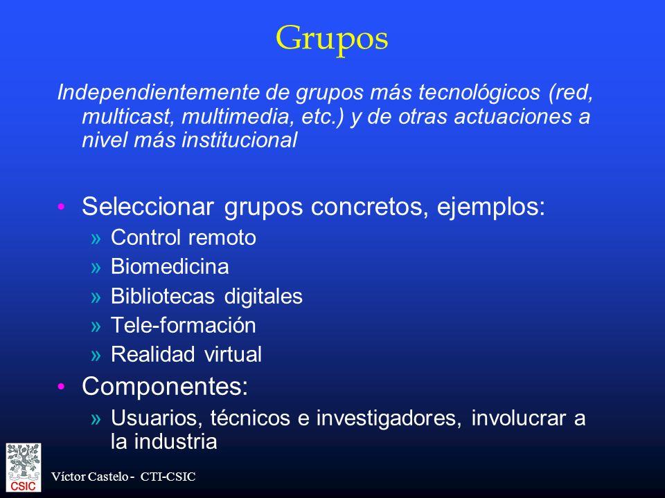 Víctor Castelo - CTI-CSIC Grupos Independientemente de grupos más tecnológicos (red, multicast, multimedia, etc.) y de otras actuaciones a nivel más i