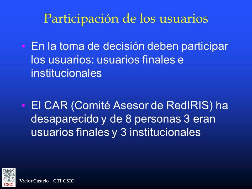Víctor Castelo - CTI-CSIC Participación de los usuarios En la toma de decisión deben participar los usuarios: usuarios finales e institucionales El CA