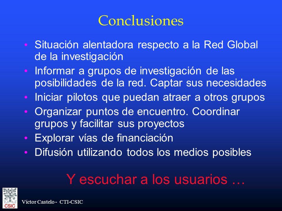 Víctor Castelo - CTI-CSIC Conclusiones Situación alentadora respecto a la Red Global de la investigación Informar a grupos de investigación de las pos