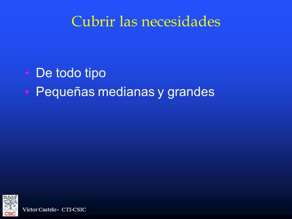 Víctor Castelo - CTI-CSIC Cubrir las necesidades De todo tipo Pequeñas medianas y grandes