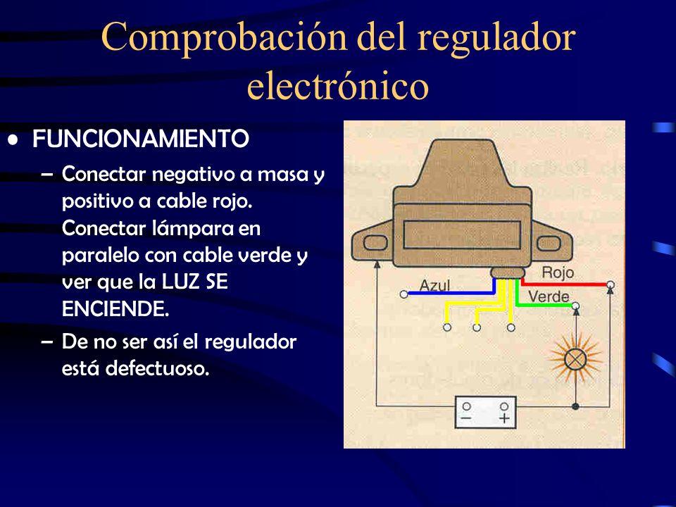 Comprobación del regulador electrónico DIODOS DE PROTECCIÓN –Azul del regulador a negativo de batería y cada uno de los amarillos con lámpara en serie
