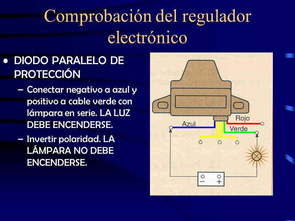 Comprobación del regulador electrónico FUNCIONAMIENTO –Conectar negativo a masa y positivo a cable rojo. Conectar lámpara en paralelo con cable verde