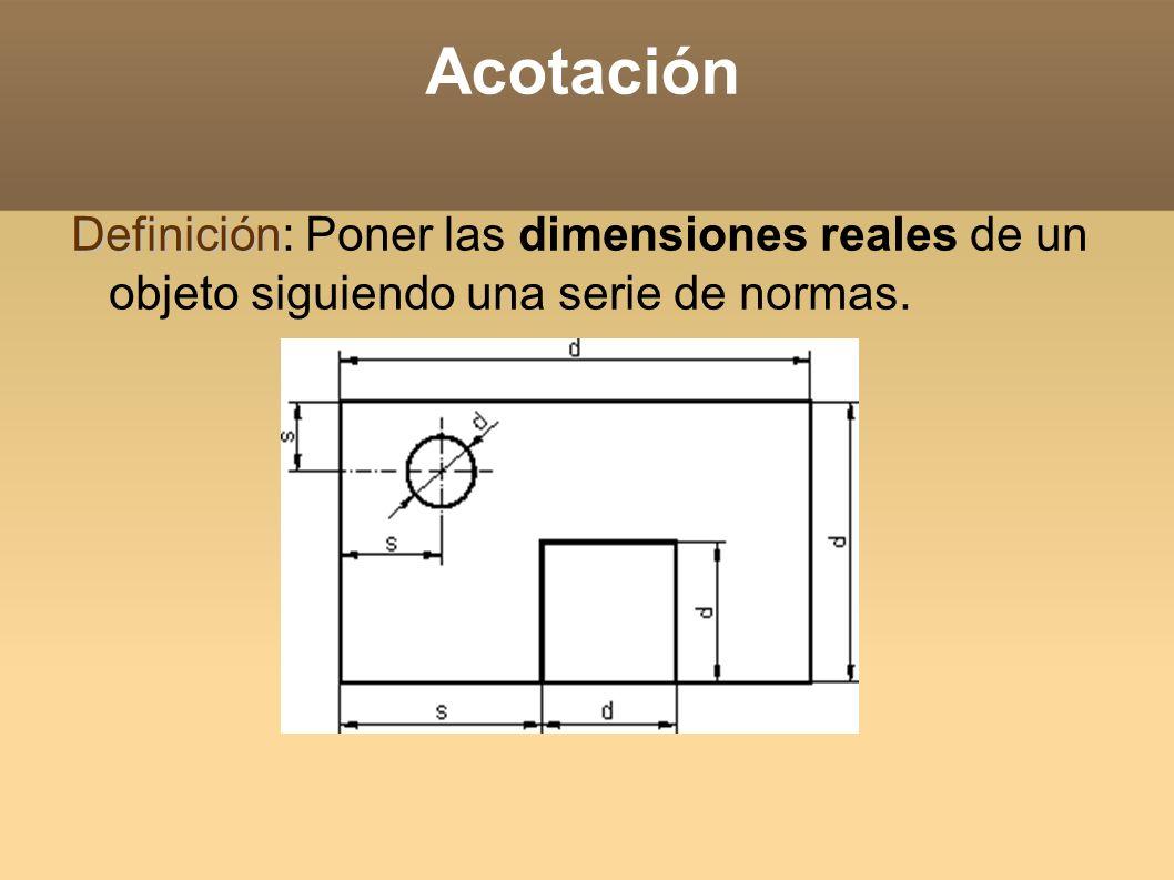 Acotación Definición Definición: Poner las dimensiones reales de un objeto siguiendo una serie de normas.