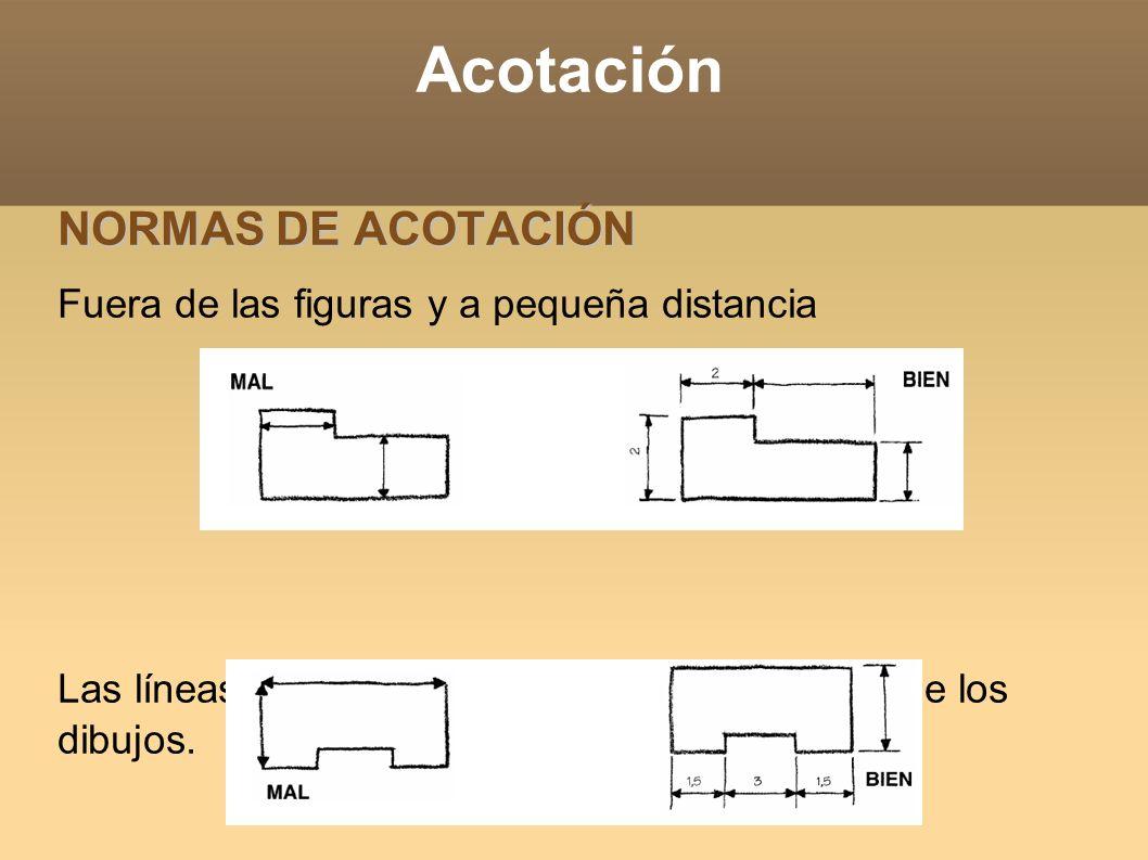 Acotación NORMAS DE ACOTACIÓN Fuera de las figuras y a pequeña distancia Las líneas de cota no pueden coincidir con las de los dibujos.