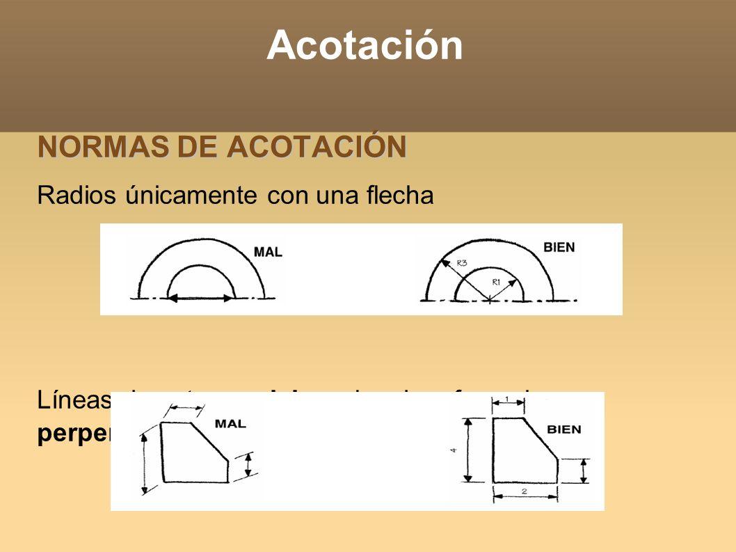 Acotación NORMAS DE ACOTACIÓN Radios únicamente con una flecha Líneas de cota paralelas y las de referencia perpendiculares