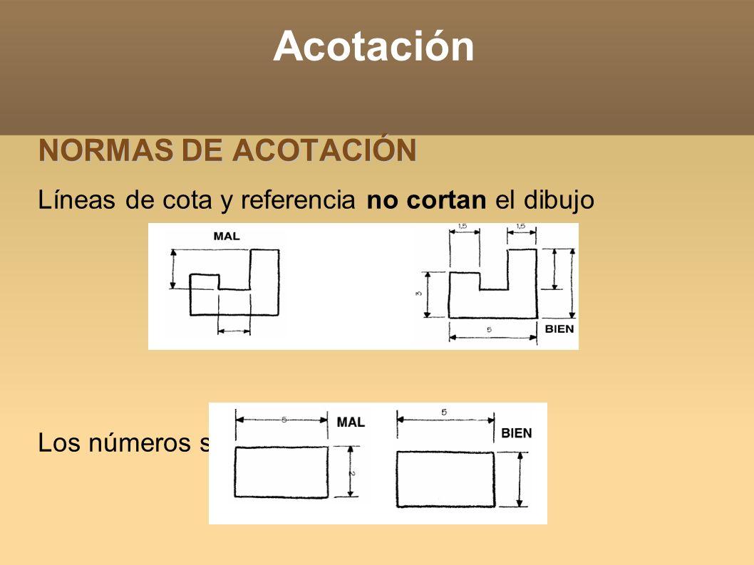 Acotación NORMAS DE ACOTACIÓN Líneas de cota y referencia no cortan el dibujo Los números separados y centrados