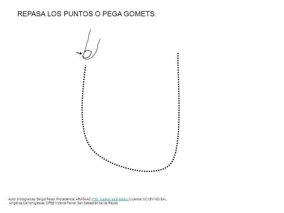REPASA LOS PUNTOS O PEGA GOMETS. Autor pictogramas: Sergio Palao. Procedencia: ARASAAC (http://catedu.es/arasaac/) Licencia: CC (BY-NC-SA).http://cate