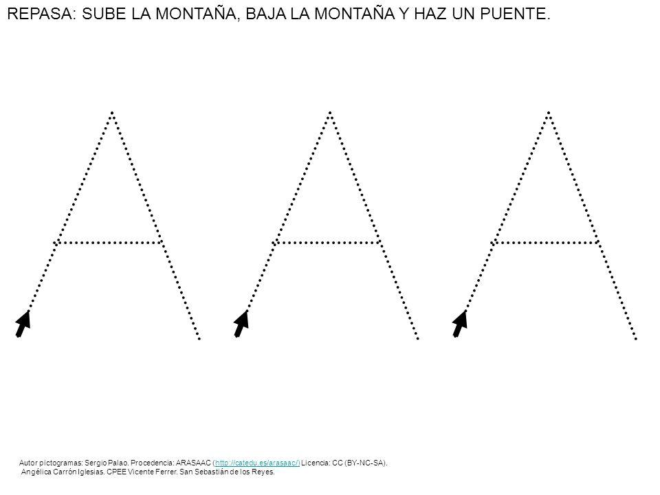 REPASA: SUBE LA MONTAÑA, BAJA LA MONTAÑA Y HAZ UN PUENTE. Autor pictogramas: Sergio Palao. Procedencia: ARASAAC (http://catedu.es/arasaac/) Licencia: