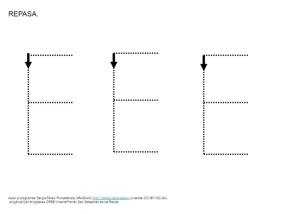 EEEEEEEEEE REPASA LOS PUNTOS Y PINTA LOS DIBUJOS.E Autor pictogramas: Sergio Palao.