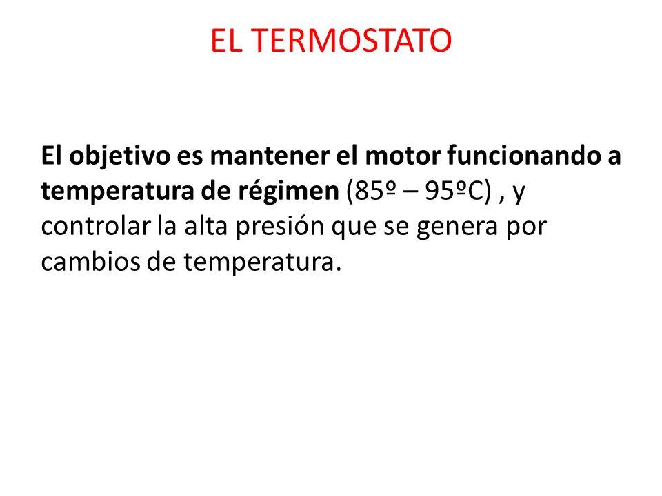 EL TERMOSTATO El objetivo es mantener el motor funcionando a temperatura de régimen (85º – 95ºC), y controlar la alta presión que se genera por cambio
