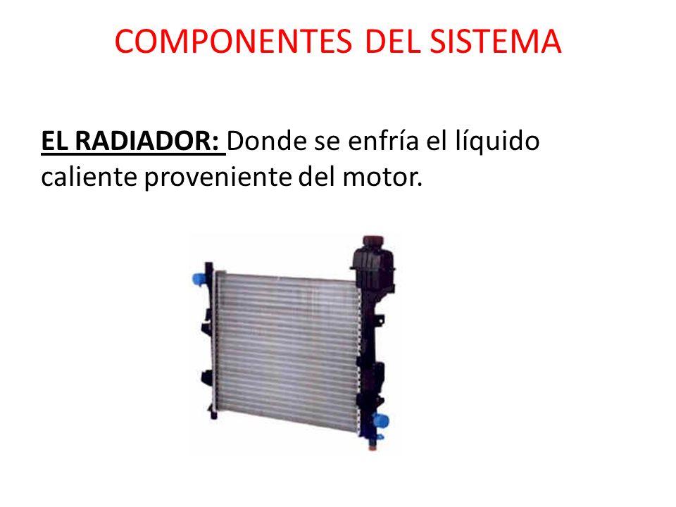 COMPONENTES DEL SISTEMA EL RADIADOR: Donde se enfría el líquido caliente proveniente del motor.
