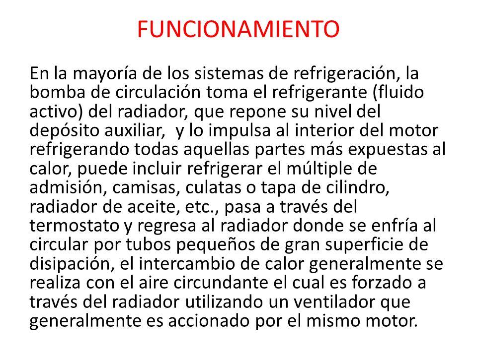 FUNCIONAMIENTO En la mayoría de los sistemas de refrigeración, la bomba de circulación toma el refrigerante (fluido activo) del radiador, que repone s