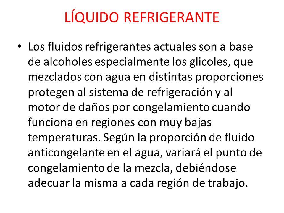 LÍQUIDO REFRIGERANTE Los fluidos refrigerantes actuales son a base de alcoholes especialmente los glicoles, que mezclados con agua en distintas propor