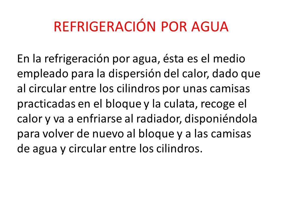 REFRIGERACIÓN POR AGUA En la refrigeración por agua, ésta es el medio empleado para la dispersión del calor, dado que al circular entre los cilindros