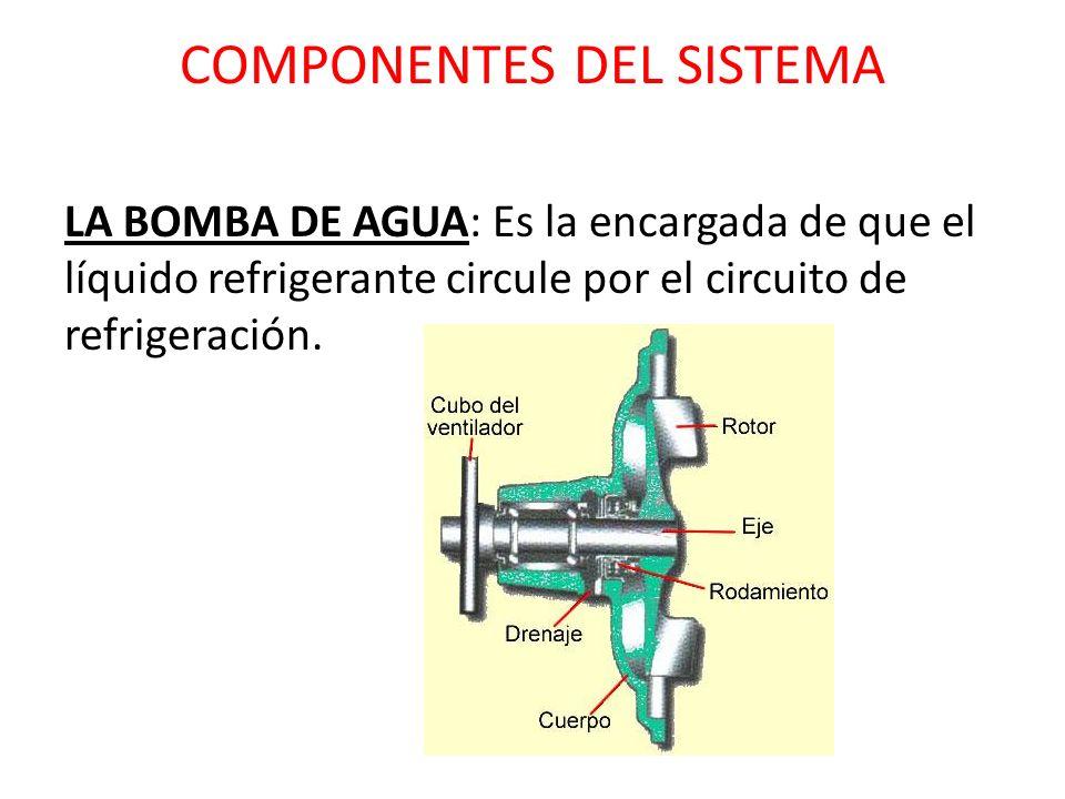 COMPONENTES DEL SISTEMA LA BOMBA DE AGUA: Es la encargada de que el líquido refrigerante circule por el circuito de refrigeración.