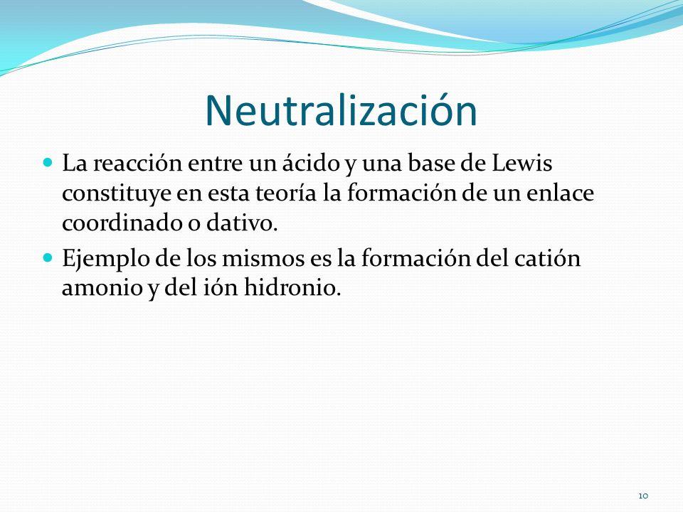 Neutralización La reacción entre un ácido y una base de Lewis constituye en esta teoría la formación de un enlace coordinado o dativo. Ejemplo de los