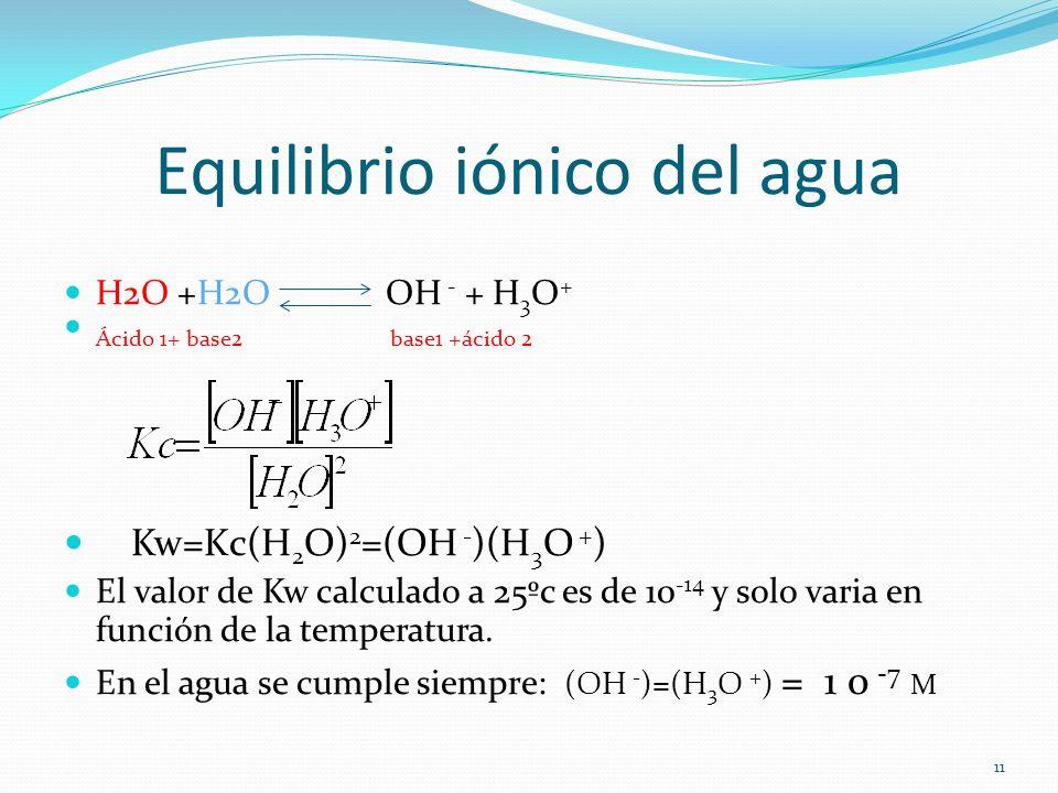 Equilibrio iónico del agua H2O +H2O OH - + H 3 O + Ácido 1+ base2 base1 +ácido 2 Kw=Kc(H 2 O) 2 =(OH - )(H 3 O + ) El valor de Kw calculado a 25ºc es