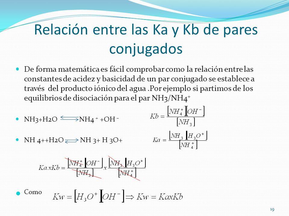 Relación entre las Ka y Kb de pares conjugados De forma matemática es fácil comprobar como la relación entre las constantes de acidez y basicidad de u