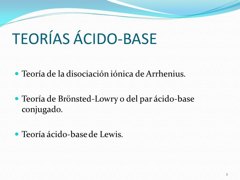 TEORÍAS ÁCIDO-BASE Teoría de la disociación iónica de Arrhenius. Teoría de Brönsted-Lowry o del par ácido-base conjugado. Teoría ácido-base de Lewis.