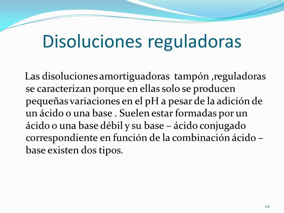 Disoluciones reguladoras Las disoluciones amortiguadoras tampón,reguladoras se caracterizan porque en ellas solo se producen pequeñas variaciones en e