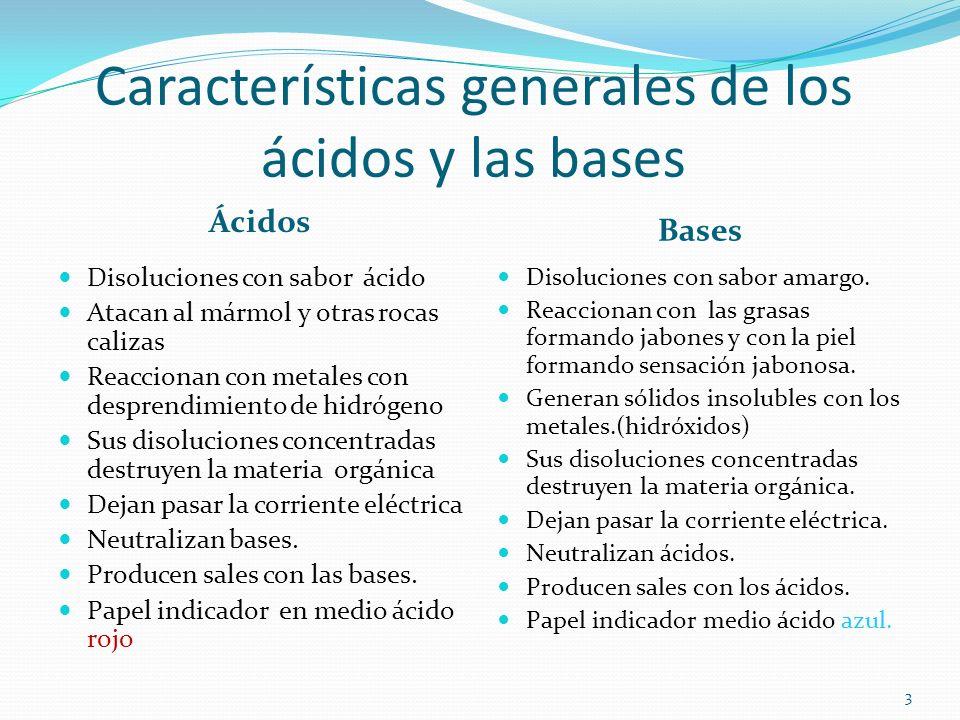 Características generales de los ácidos y las bases Ácidos Bases Disoluciones con sabor ácido Atacan al mármol y otras rocas calizas Reaccionan con me