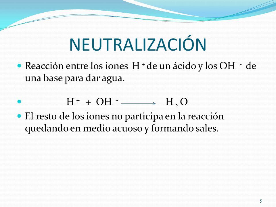 NEUTRALIZACIÓN Reacción entre los iones H + de un ácido y los OH - de una base para dar agua. H + + OH - H 2 O El resto de los iones no participa en l