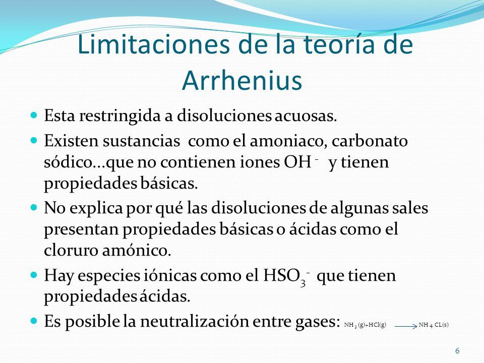 Limitaciones de la teoría de Arrhenius Esta restringida a disoluciones acuosas. Existen sustancias como el amoniaco, carbonato sódico...que no contien