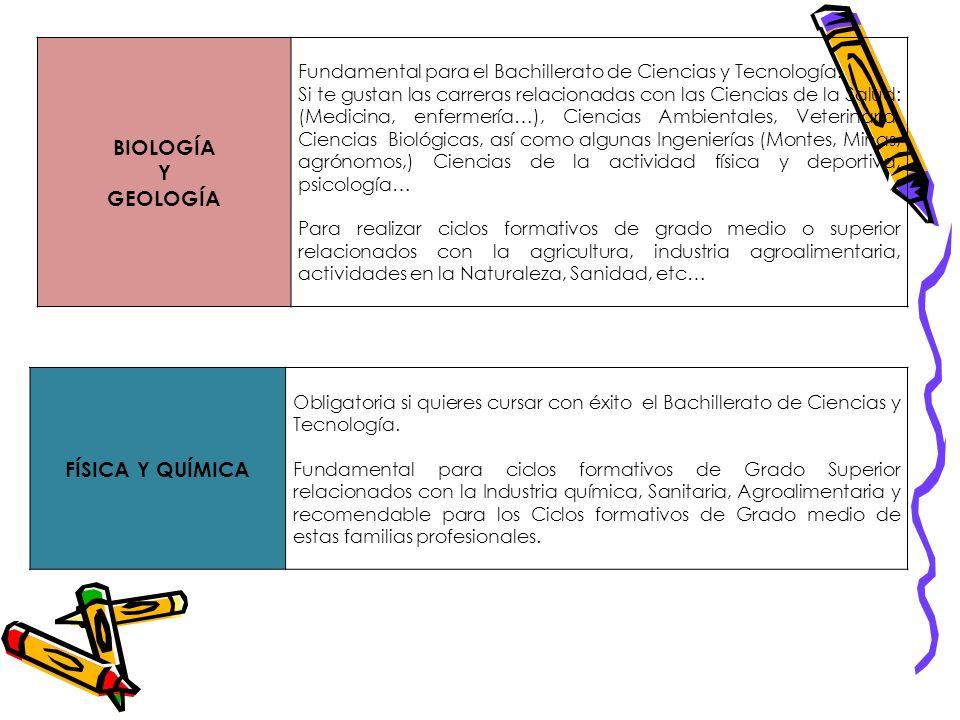 BIOLOGÍA Y GEOLOGÍA Fundamental para el Bachillerato de Ciencias y Tecnología. Si te gustan las carreras relacionadas con las Ciencias de la Salud: (M