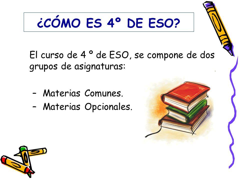 ¿CÓMO ES 4º DE ESO? El curso de 4 º de ESO, se compone de dos grupos de asignaturas: – Materias Comunes. – Materias Opcionales.