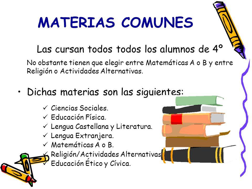 MATERIAS COMUNES Las cursan todos todos los alumnos de 4º No obstante tienen que elegir entre Matemáticas A o B y entre Religión o Actividades Alterna
