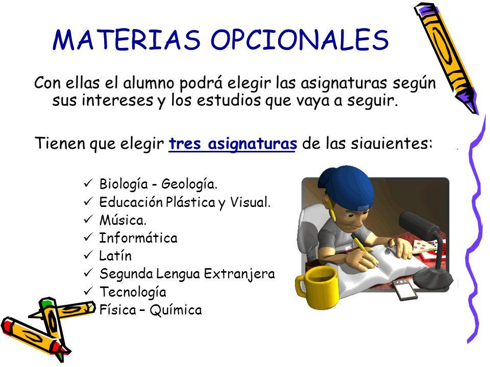 MATERIAS OPCIONALES Con ellas el alumno podrá elegir las asignaturas según sus intereses y los estudios que vaya a seguir. Tienen que elegir tres asig