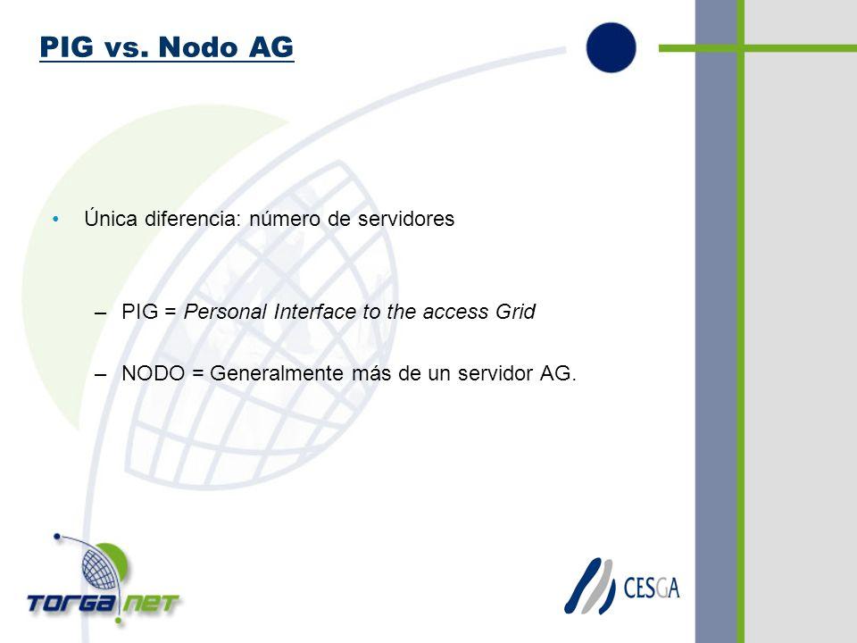 Única diferencia: número de servidores –PIG = Personal Interface to the access Grid –NODO = Generalmente más de un servidor AG.
