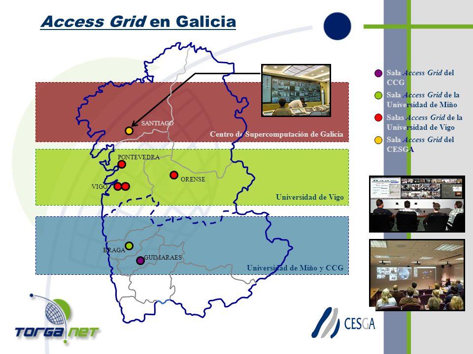 Access Grid en Galicia Universidad de Miño y CCG Universidad de Vigo Centro de Supercomputación de Galicia SANTIAGO VIGO BRAGA GUIMARAES PONTEVEDRA ORENSE Sala Access Grid de la Universidad de Miño Salas Access Grid de la Universidad de Vigo Sala Access Grid del CESGA Sala Access Grid del CCG