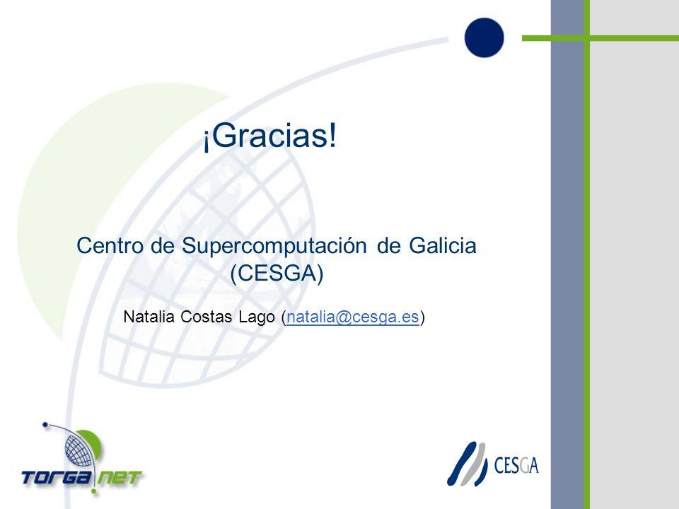 Centro de Supercomputación de Galicia (CESGA) Natalia Costas Lago (natalia@cesga.es) ¡ Gracias!