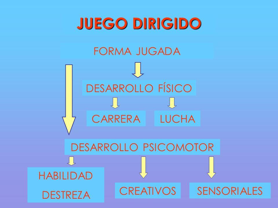 DESARROLLO FÍSICO CARRERALUCHA JUEGO DIRIGIDO FORMA JUGADA DESARROLLO PSICOMOTOR HABILIDAD DESTREZA CREATIVOSSENSORIALES