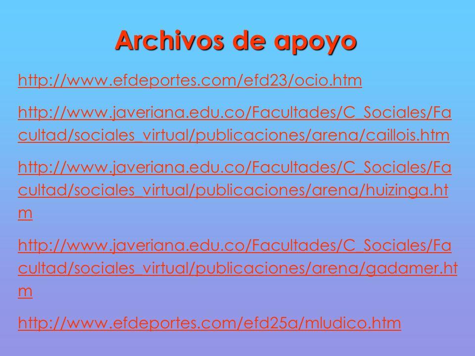 Archivos de apoyo http://www.efdeportes.com/efd23/ocio.htm http://www.javeriana.edu.co/Facultades/C_Sociales/Fa cultad/sociales_virtual/publicaciones/arena/caillois.htm http://www.javeriana.edu.co/Facultades/C_Sociales/Fa cultad/sociales_virtual/publicaciones/arena/huizinga.ht m http://www.javeriana.edu.co/Facultades/C_Sociales/Fa cultad/sociales_virtual/publicaciones/arena/gadamer.ht m http://www.efdeportes.com/efd25a/mludico.htm