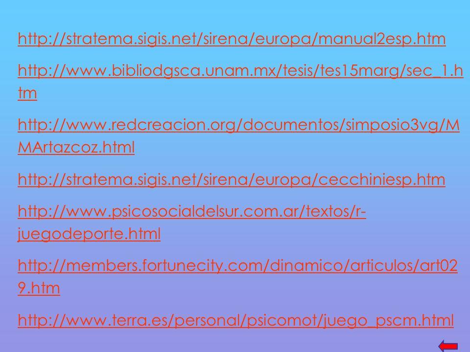 http://stratema.sigis.net/sirena/europa/manual2esp.htm http://www.bibliodgsca.unam.mx/tesis/tes15marg/sec_1.h tm http://www.redcreacion.org/documentos/simposio3vg/M MArtazcoz.html http://stratema.sigis.net/sirena/europa/cecchiniesp.htm http://www.psicosocialdelsur.com.ar/textos/r- juegodeporte.html http://members.fortunecity.com/dinamico/articulos/art02 9.htm http://www.terra.es/personal/psicomot/juego_pscm.html