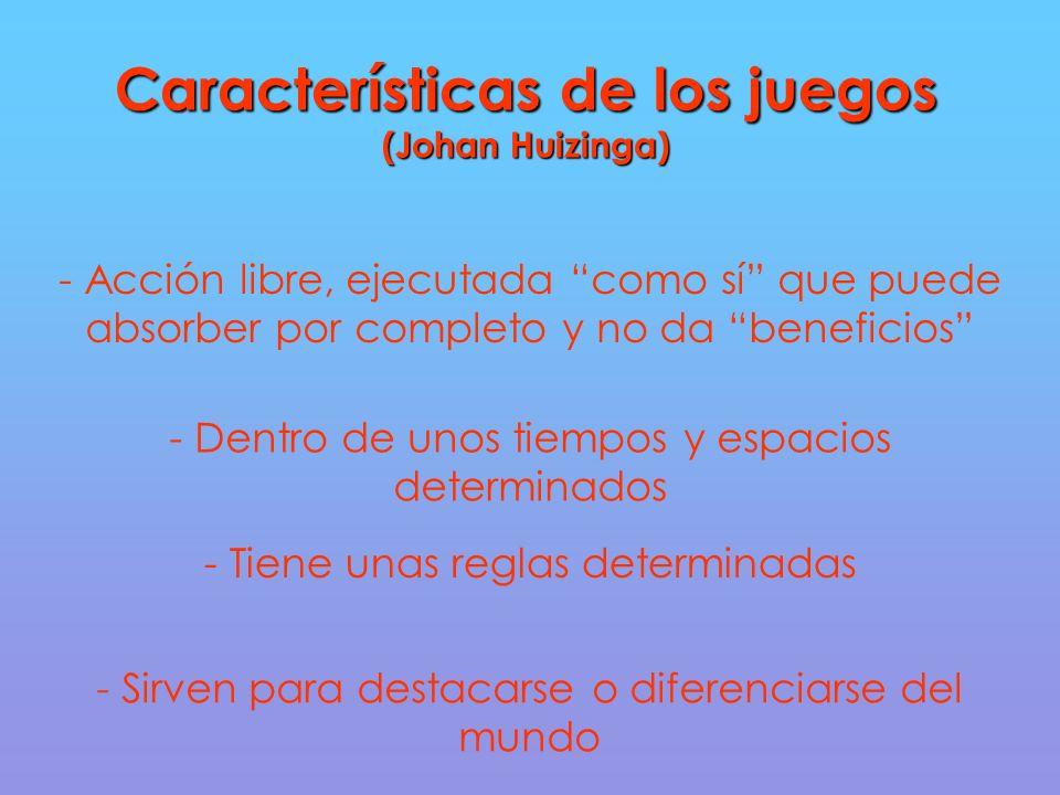 Características de los juegos (Johan Huizinga) - Acción libre, ejecutada como sí que puede absorber por completo y no da beneficios - Dentro de unos tiempos y espacios determinados - Tiene unas reglas determinadas - Sirven para destacarse o diferenciarse del mundo