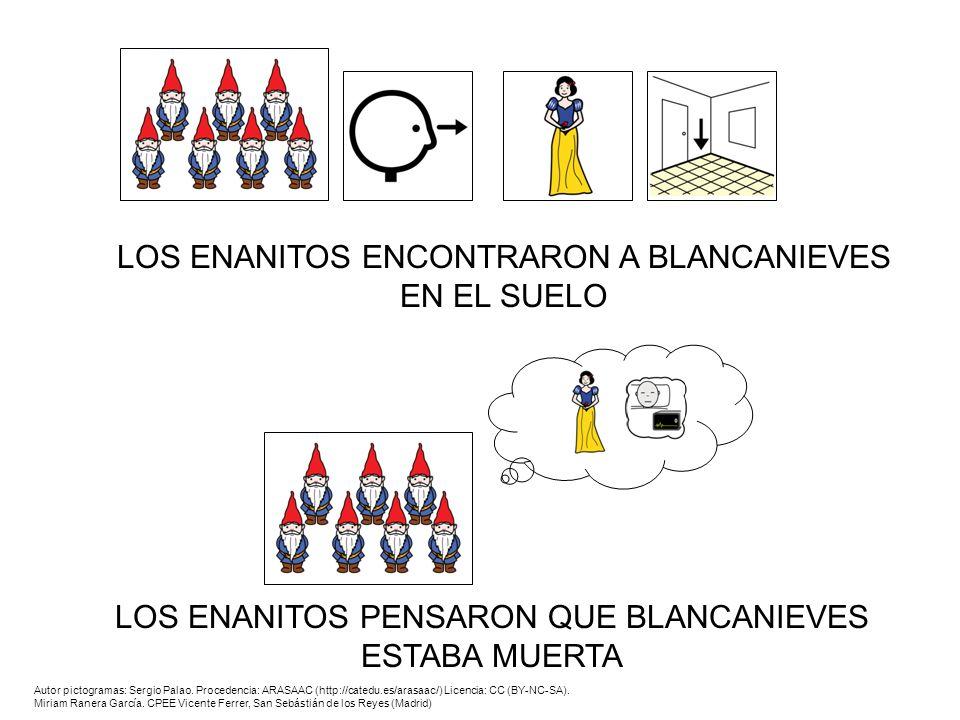 LOS ENANITOS ENCONTRARON A BLANCANIEVES EN EL SUELO LOS ENANITOS PENSARON QUE BLANCANIEVES ESTABA MUERTA Autor pictogramas: Sergio Palao. Procedencia: